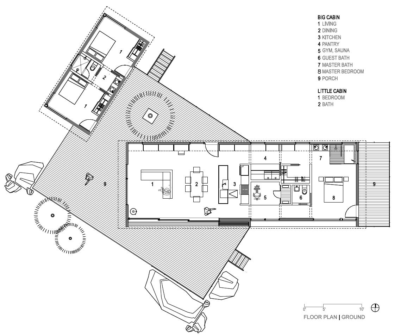 Floor Plan of Big Cabin | Little Cabin by Renée del Gaudio Architecture.
