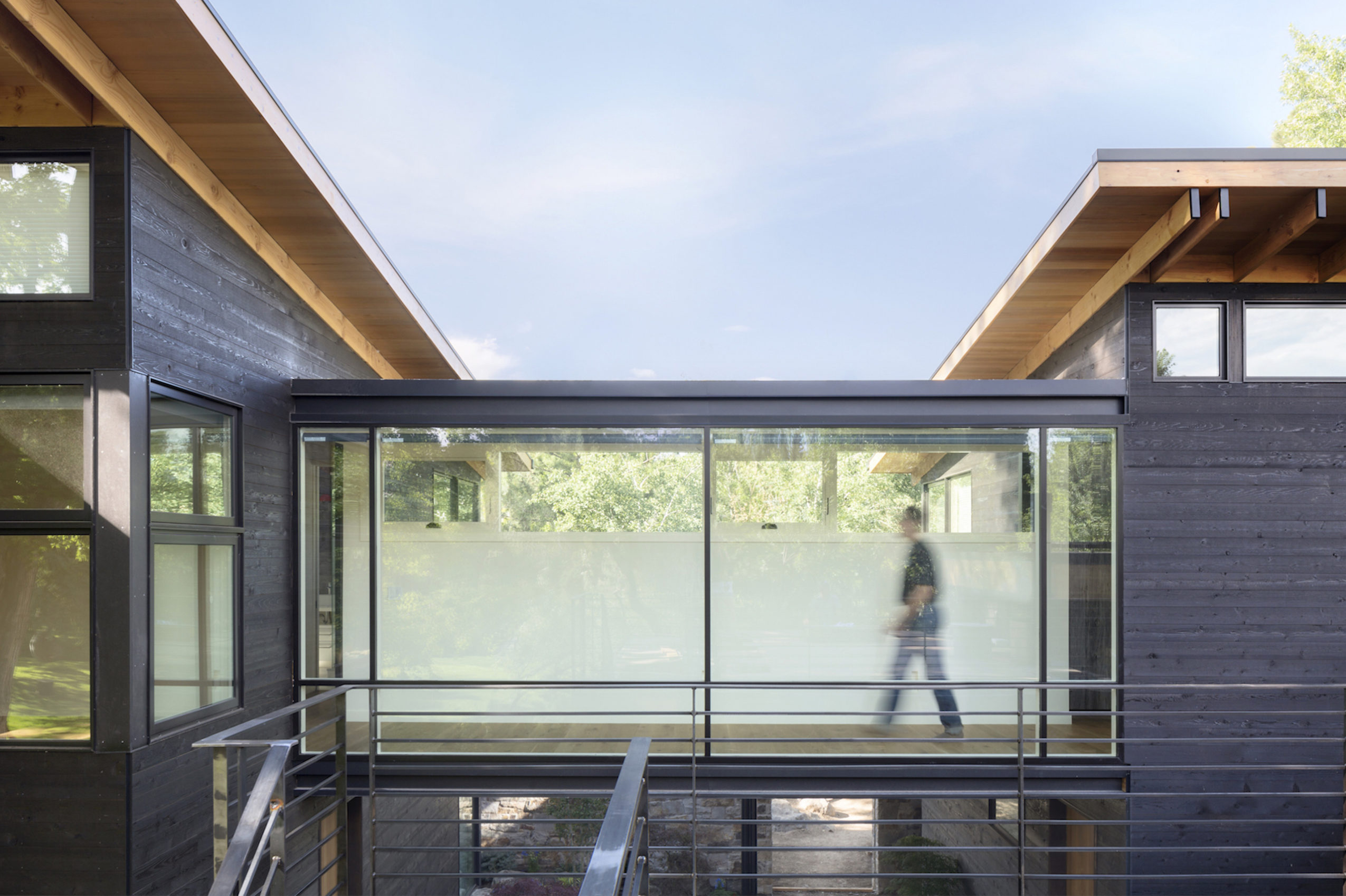 View of upper bridge at Inside Out House by Renée del Gaudio Architecture