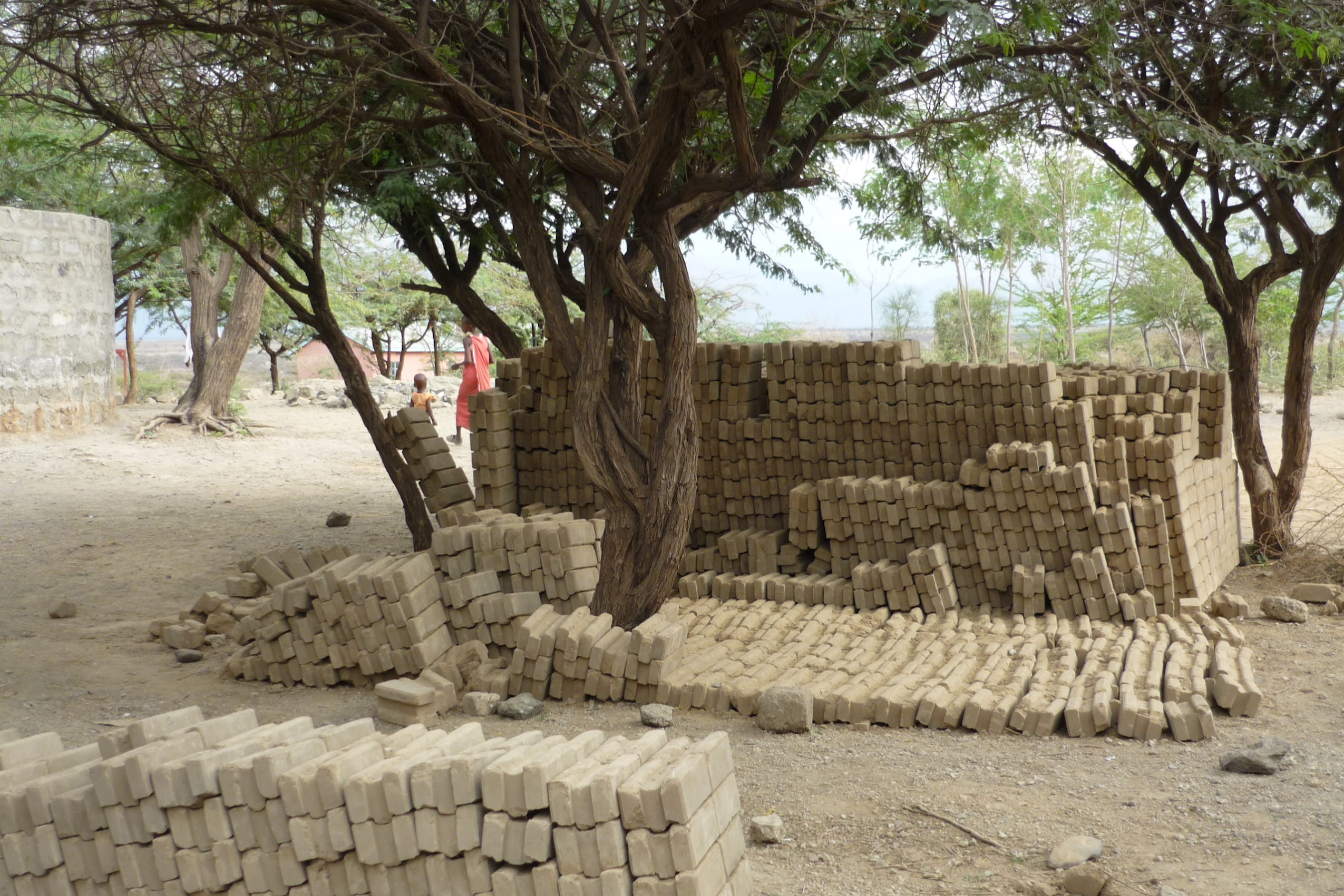 Compressed earth block construction in Oloika, Kenya