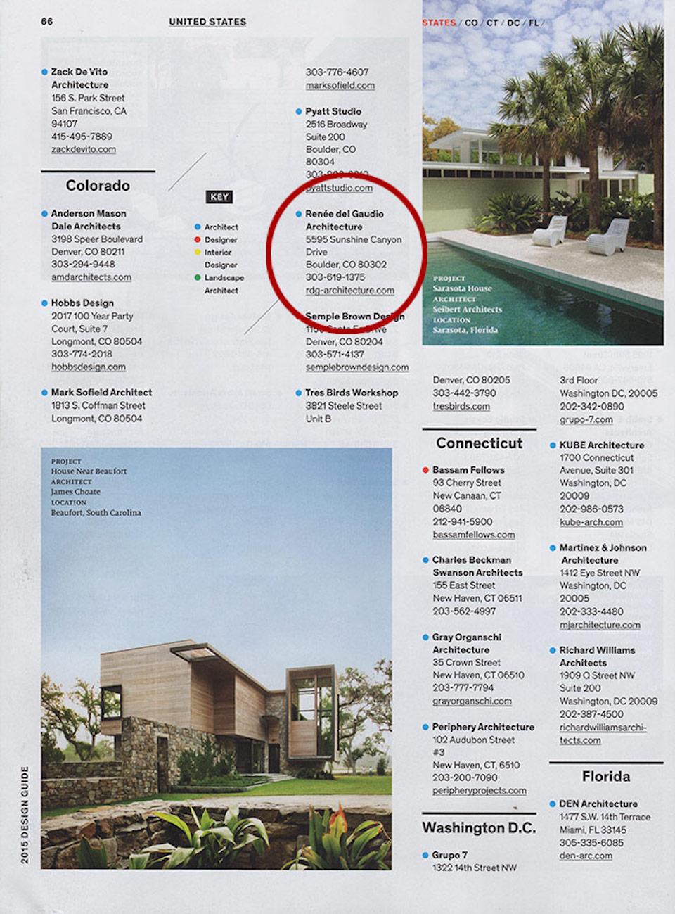 Dwell Design Guide | Press for Renée del Gaudio Architecture.